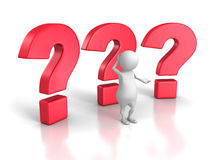 3d confus Person With Big Question Marks Photo stock