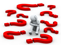 3d confused person between question mark symbols Royalty Free Stock Image