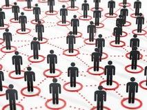 3d a connecté salut la recherche humaine de peuples de réseau de mouvement Image stock