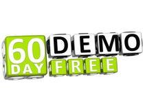 3D consiguen 60 el día Demo Free Block Letters ilustración del vector