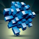 3D construction abstraite élégante moderne, objet bleu de facette construit de différentes pièces géométriques Photographie stock
