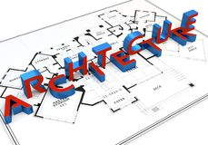 3d construction concept. Architecture word. On white background Royalty Free Stock Photo
