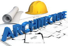 3d construction concept. Blueprints and hard hat Stock Photography