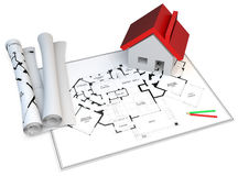 3d construction concept. Blueprints,pencils and house Royalty Free Stock Photo