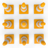 3d construction cones arranged in grid Stock Photos