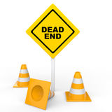 3d construction cones and dead end sign board Royalty Free Stock Image