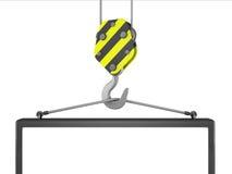 3d construction crane hook lifting blank board. Illustration of 3d construction crane hook lifting blank board stock illustration