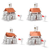 3D construction guys building a house. 3D render isolated on white background Vector Illustration