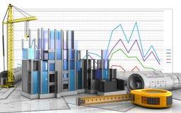 3d of construction progress. 3d illustration of construction progress with crane over business graph background Stock Images