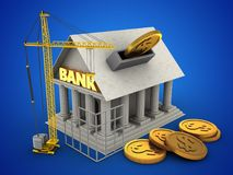 3d construction site. 3d illustration of Bank over blue background with coins and construction site Royalty Free Stock Images