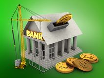 3d construction site. 3d illustration of Bank over green background with coins and construction site Royalty Free Stock Photo