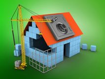 3d construction site. 3d illustration of block house over green background with safe and construction site Stock Photography