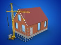 3d construction site. 3d illustration of bricks house over blue background with construction site Stock Photo