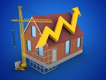 3d construction site. 3d illustration of bricks house over blue background with arrow graph and construction site Stock Image
