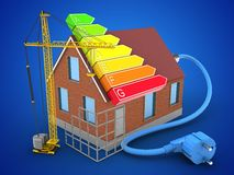 3d construction site. 3d illustration of bricks house over blue background with power ranks and construction site Stock Photo