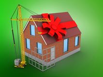 3d construction site. 3d illustration of bricks house over green background with gift ribbon and construction site Royalty Free Stock Images