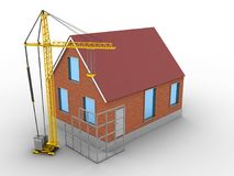 3d construction site. 3d illustration of bricks house over white background with construction site Royalty Free Stock Image