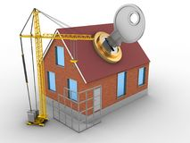 3d construction site. 3d illustration of bricks house over white background with key and construction site Stock Photos