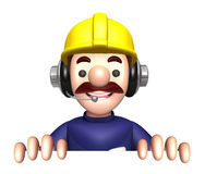 3D Construction site man character is holding paper documents Stock Photography