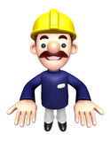 3D Construction site man mascot the direction of pointing with b Royalty Free Stock Photo