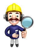 3D Construction site man mascot examine a with magnifying glass Stock Images