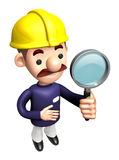 3D Construction site man mascot examine a with magnifying glass Stock Photos