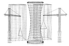 3D construction site, office buildings - wireframe royalty free illustration