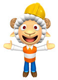 3D Construction site Sheep Mascot has been welcomed with both ha Stock Image
