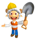 3D Construction site Sheep Mascot the left hand guides and the r Royalty Free Stock Photos