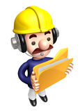 3D construction staff hand Grasp the folder Royalty Free Stock Photos