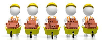 3D construction team. 3D five cartoon characters holding wheelbarrows with bricks - great for topics like construction site, house building etc Stock Photo