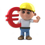 3d Construction worker as a Euro currency symbol Stock Photography
