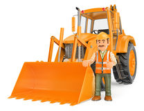 3D Construction worker with a backhoe. 3d working people illustration. Construction worker with a backhoe. White background Stock Images