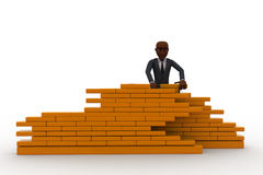 3d construction worker build wall using bricks concept Royalty Free Stock Image