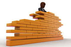 3d construction worker build wall using bricks concept Royalty Free Stock Photo