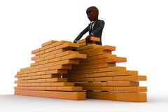 3d construction worker build wall using bricks concept Stock Photos