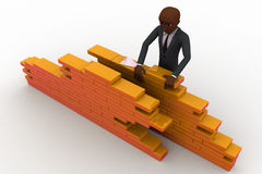 3d construction worker build wall using bricks concept Royalty Free Stock Photography