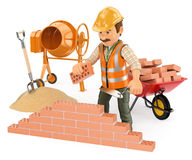 3D Construction worker building a brick wall. 3d working people. Construction worker building a brick wall. White background Royalty Free Stock Photography