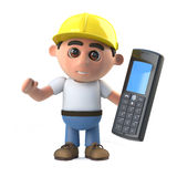 3d Construction worker with cell phone Stock Photos