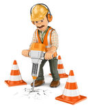 3D Construction worker with a handheld hydraulic breaker Royalty Free Stock Photos