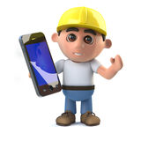 3d Construction worker has a smartphone tablet device. 3d render of a construction worker holding a smartphone tablet device Stock Image