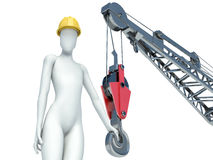 3D construction worker with helmet on white background Stock Photo