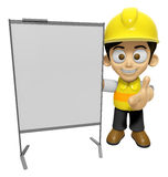 3D Construction Worker Man Mascot is concise explanation of a wh Stock Images