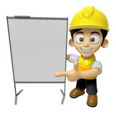 3D Construction Worker Man Mascot is concise explanation of a wh Royalty Free Stock Photography