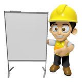 3D Construction Worker Man Mascot is concise explanation of a wh Stock Image
