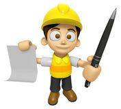 3D Construction Worker Man Mascot hand is holding a Document and Stock Photos