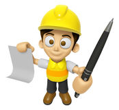 3D Construction Worker Man Mascot hand is holding a Document and Royalty Free Stock Photography