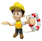 3D Construction Worker Man Mascot the hand is holding a Lifebelt Royalty Free Stock Image