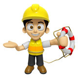 3D Construction Worker Man Mascot the hand is holding a Lifebelt Stock Image