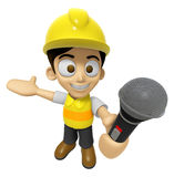 3D Construction Worker Man Mascot the hand is holding a Mic. Wor Royalty Free Stock Image